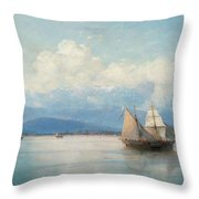 Ships Before The Caucasian Coast Throw Pillow