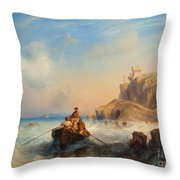 Ships By The Coast Throw Pillow
