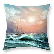 Ships In A Storm At Sunset Throw Pillow