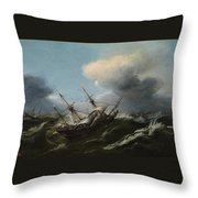 Ships In A Storm Throw Pillow