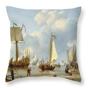 Ships In Calm Water With Figures By The Shore Throw Pillow by Abraham Storck