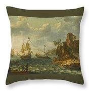 Ships Moored Off A Rocky Coastline With Fishermen Unloading Their Catch Throw Pillow