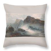 Shipwreck Off A Rocky Coast Throw Pillow