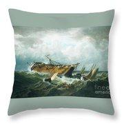 Shipwreck Off Nantucket Throw Pillow