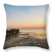 Shipwreck Sunset Panorama  Throw Pillow