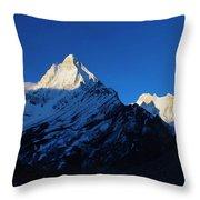 Shivling And Meru, Uttarakhand, India Throw Pillow