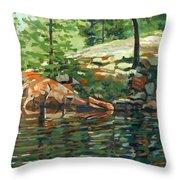 Shoal Lake - Granite Shore Throw Pillow