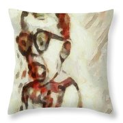 Shocked Scared Screaming Boy With Curly Red Hair In Glasses And Overalls In Acrylic Paint As A Loose Throw Pillow