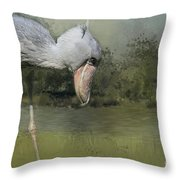Shoebill Looking For Food Throw Pillow