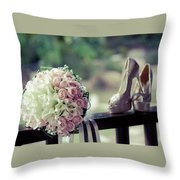 Shoes And Wedding Bouquet Throw Pillow