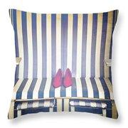 Shoes In A Beach Chair Throw Pillow