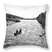 Shooting The Rapids In Maine Throw Pillow