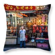 Shop Owner Standing In Front Of Poultry Shop On Temple Street Night Market Kowloon Hong Kong China Throw Pillow