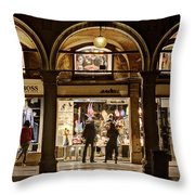 Shop Windows At Night On Piazza San Marco - Venice Throw Pillow