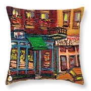 St Viateur Bagel Shop And Mehadrins Kosher Deli Best Original Montreal Jewish Landmark Painting  Throw Pillow
