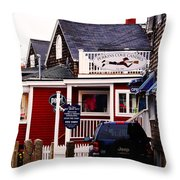 Shopping In Perkins Cove Maine Throw Pillow