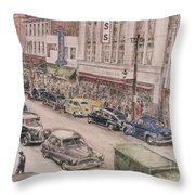 Shopping On Elm St. 1949 Throw Pillow