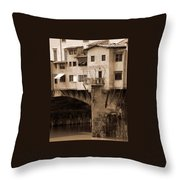 Shops On The Ponte Vecchio Throw Pillow