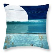 Shore And Moonrise Throw Pillow
