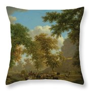 Shore, Pierre-louis Geneva 1753 - 1817 Presinge Lively And Large Trough Path At The Foot Of Cliffs Throw Pillow