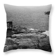 Shoreline And Shipwreck - Portland, Maine Bw Throw Pillow