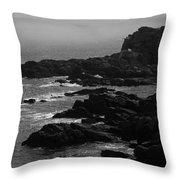 Shoreline - Portland, Maine Bw Throw Pillow