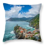 Shores Of Cinque Terre Throw Pillow