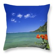 Shorline With Flower Throw Pillow