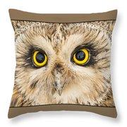 Short-eared Owl Face Throw Pillow