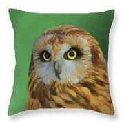 Short Eared Owl On Green Throw Pillow