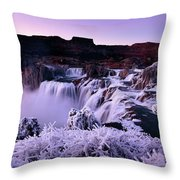Shoshone Falls In Winter Throw Pillow