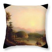 Shoshone Indians At A Mountain Lake Throw Pillow