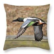 Shoveler In Flight Throw Pillow