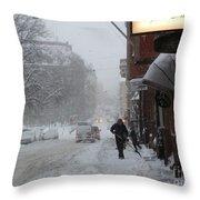 Shoveling Snow Throw Pillow