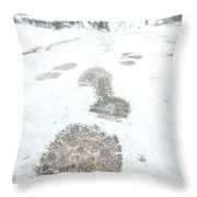 Show Footprints In Snow On Sidewalk Along The Park Throw Pillow