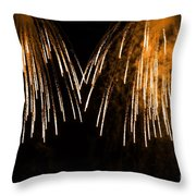 Shower Of Orange Colors Using Pyrotechnics Firework Throw Pillow