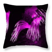 Showers Of Pink Color Splash With Firework  Throw Pillow