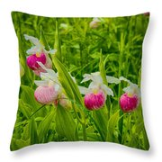 Showy Lady's Slipper Orchids Throw Pillow