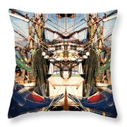 Shrimp Boat Abstract Throw Pillow