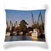 Shrimp Boat Fleet Georgetown Sc Throw Pillow