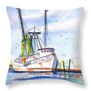 Shrimp Boat Gulf Fishing Throw Pillow