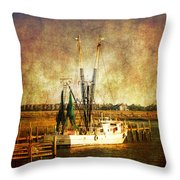 Shrimp Boat In Charleston Throw Pillow