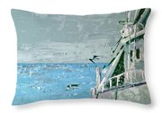 Shrimp Boat In The Gulf Throw Pillow