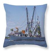 Shrimp Boat Parade Of The Shrimp Festival Throw Pillow