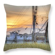 Shrimp Boat Sunset Charleston Sc Throw Pillow