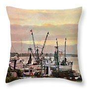 Shrimp Boats Watercolor Throw Pillow