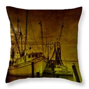 Shrimpboats In Apalachicola  Throw Pillow