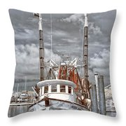 Shrimper In Eastern North Carolina Throw Pillow