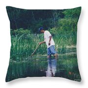 Shrimping In The Bayou Throw Pillow