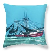 Shrimping On A Windy Day In Key West Throw Pillow
